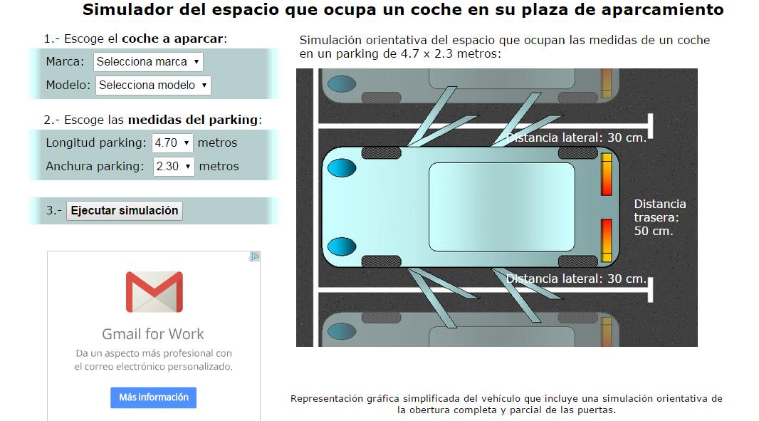 Simulador de las medidas de aparcamiento de tu coche